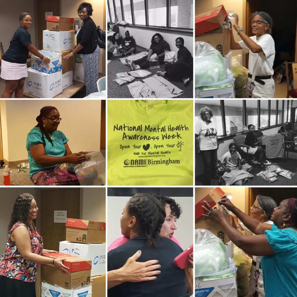Phi Iota Omega Chapter of Alpha Sorority helps fold shirts for NAMI's Birmingham walk.